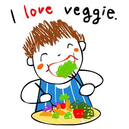glad: boy love eating fresh salad doodle style vector cartoon Illustration
