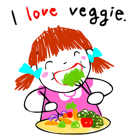girl love eating fresh salad doodle style vector cartoon Illustration