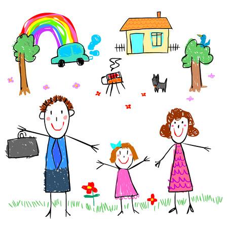 family picture: ni�a dibujar foto familiar estilo de dibujo vectorial