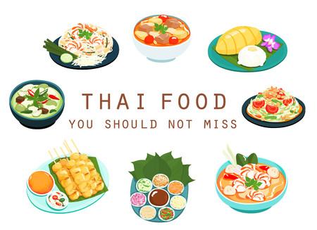 food: variedade de comida tailandesa conjunto populares vector