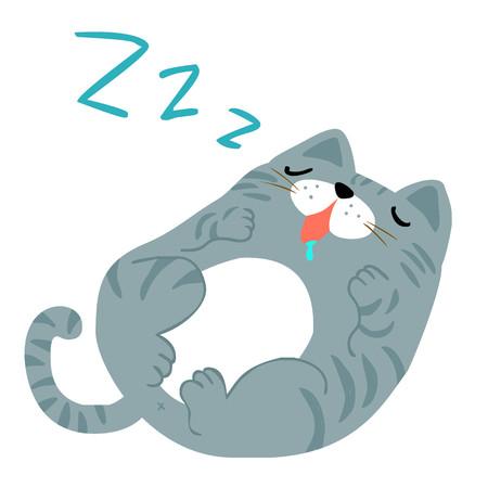 gordos: grasa feliz gato gris vector de dormir Vectores