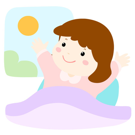 happy girl love waking up early cute vector style