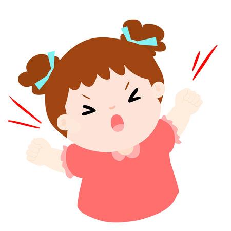 depress: little girl very angry screaming cartoon vector