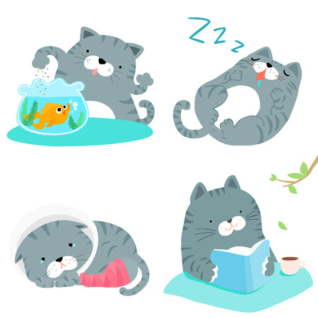 pity: many gray cat cute action style set vector