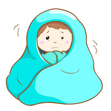 man got a fever shivering under blanket cartoon