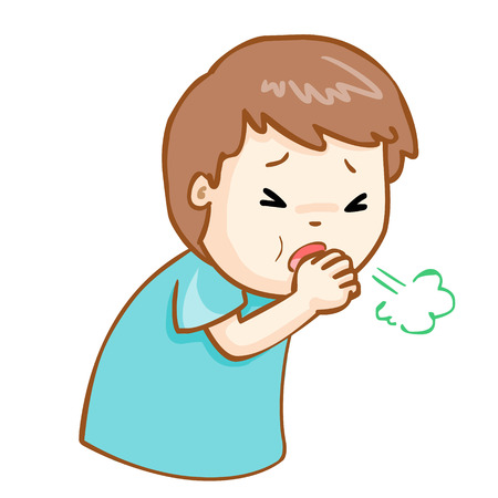 acid reflux: ill man coughing hard cause flu disease vector