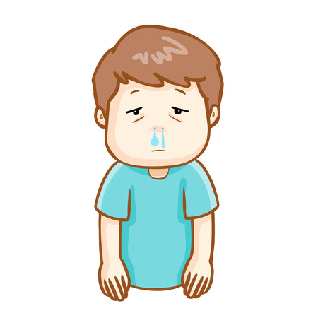 sick people: ill man runny nose because flu disease vector