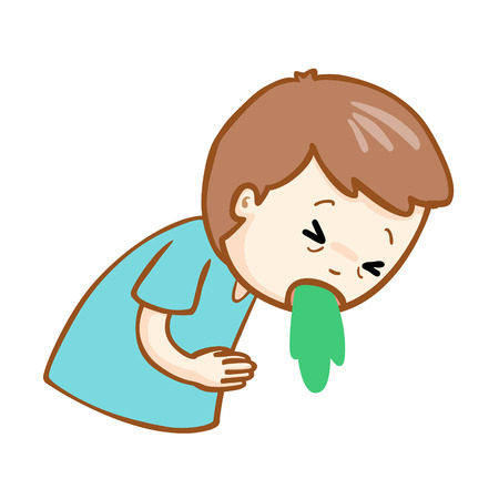poisoning: ill man vomiting because food poisoning vector Illustration