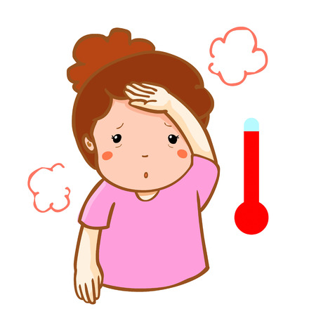 alta temperatura: woman got high temperature cause flu disease vector Vectores