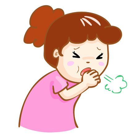 acid reflux: ill woman coughing hard cause flu disease vector