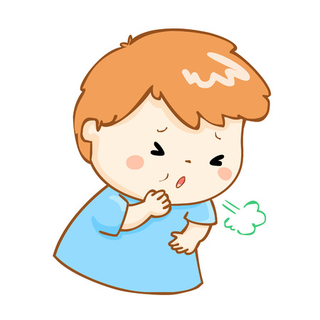 ill boy coughing hard cause flu disease vector