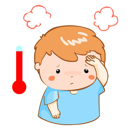 alta temperatura: boy got high temperature cause flu disease vector