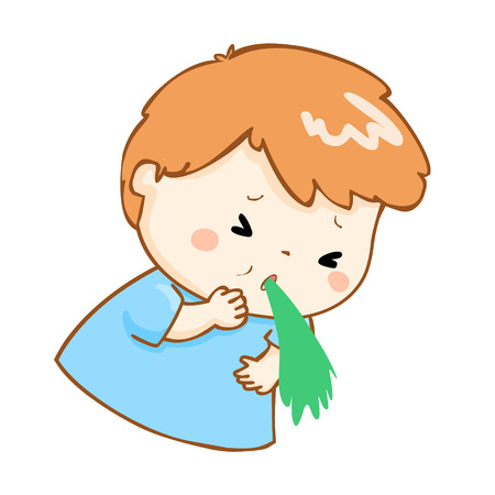 food poisoning: ill boy vomiting because food poisoning vector Illustration