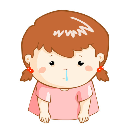 snot: ill girl runny nose because flu disease vector