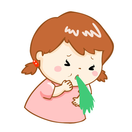 food poisoning: ill girl vomiting because food poisoning vector