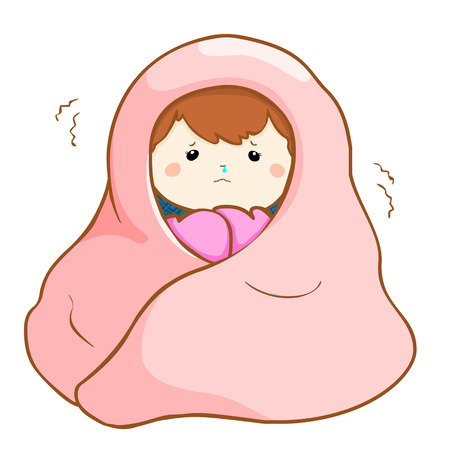 girl got a fever shivering under blanket cartoon