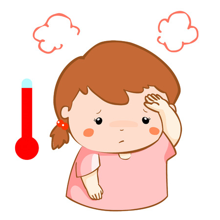 acid reflux: girl got high temperature cause flu disease vector Illustration