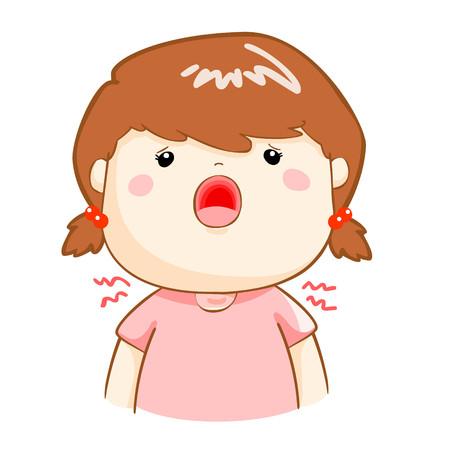 because: ill girl sore throat because flu disease vector Illustration