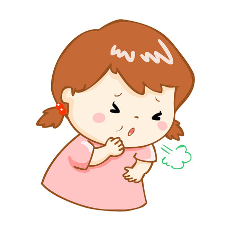 acid reflux: ill girl coughing hard cause flu disease vector