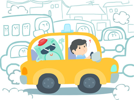 the traffic jam: happy taxi driver get money in car at traffic jam vector illustration