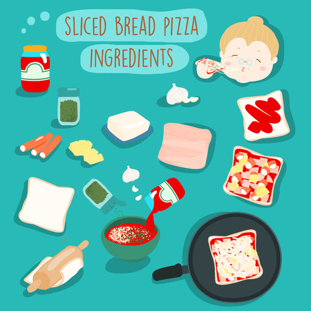 pizza ingredients: sliced bread pizza ingredients icon vector illustration