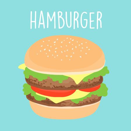 tasty: tasty cheese hamburger cartoon vector illustration Illustration