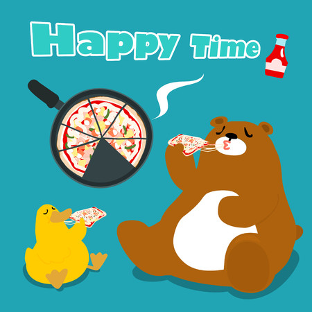 funny bear  duck eat pizza cartoon vector illustration Illustration