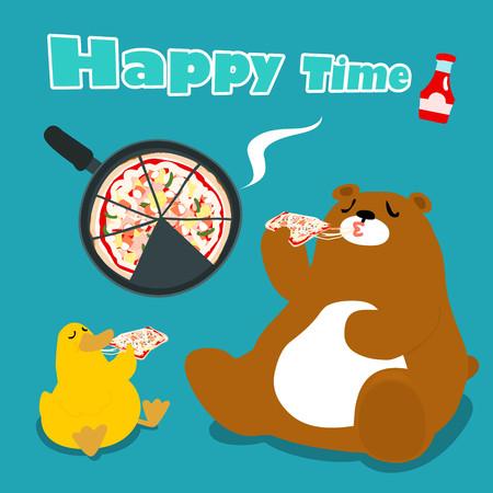 funny bear  duck eat pizza cartoon vector illustration Illustration