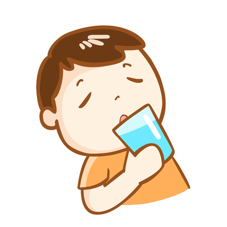 tempt: cute boy drinking fresh water cartoon character vector