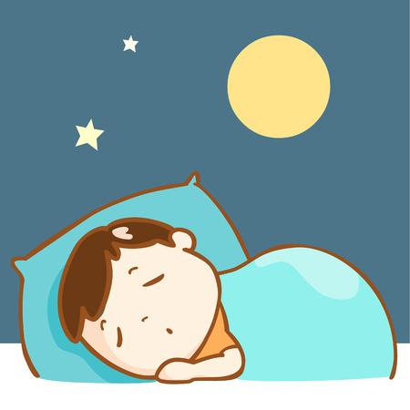 cute boy sleeping well full moon night vector