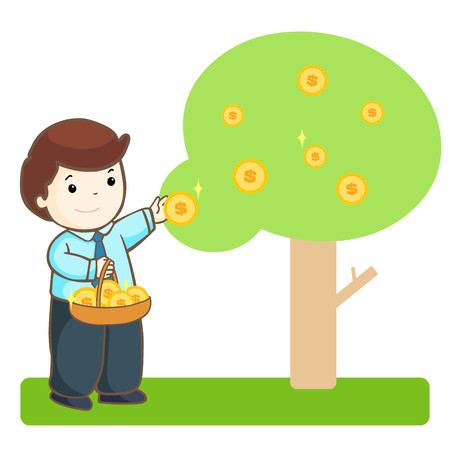 commercial tree care: businessman harvest money tree vector illustration