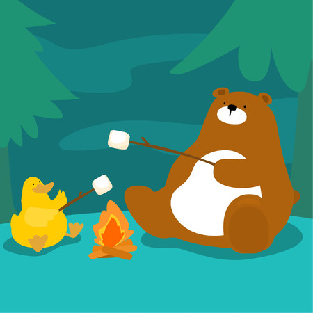 bear and duck grill marshmallow at campfire vector illustration