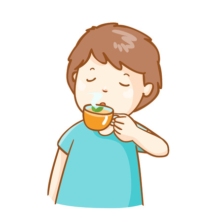 camomile tea: cold man drinking herbal tea vector illustration
