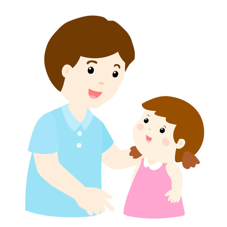 dad talk to his daughter gently vector illustration