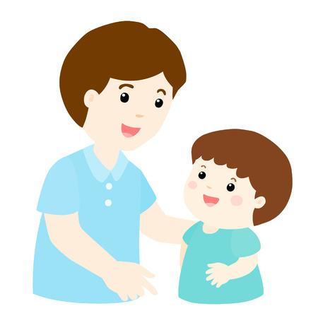 dad son: dad talk to his son gently vector illustration