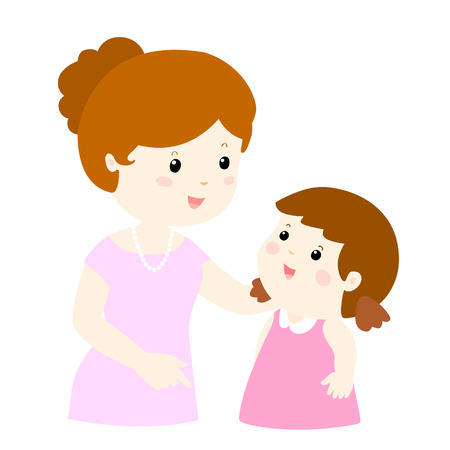 moms: mom talk to her daughter gently vector illustration