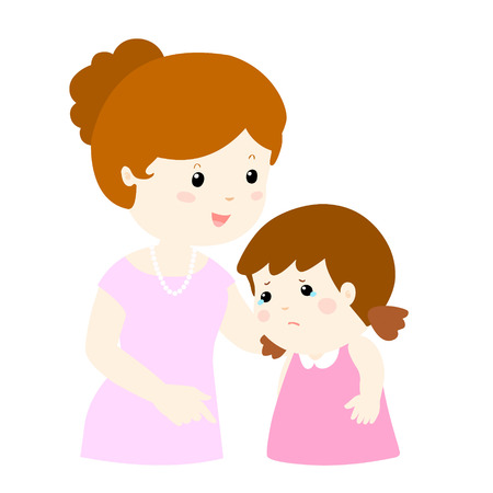 sweet mommy soothes crying daughter vector illustration 일러스트