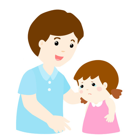 cartoon dad: kind dad soothes crying daughter vector illustration Illustration