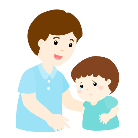 sad love: kind dad soothes crying son vector illustration