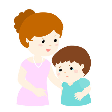 mom and son: sweet mommy soothes crying son vector illustration