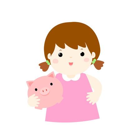girl save money in piggy bank vector illustration