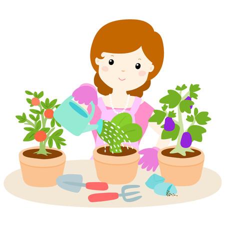 fertilizing: happy woman watering plants cartoon vector illustration