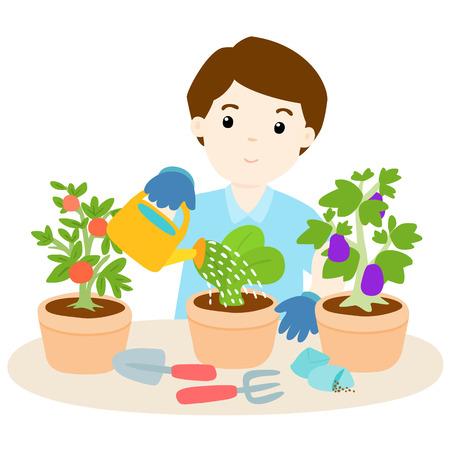 tomate de arbol: feliz hombre regar las plantas de ilustración vectorial de dibujos animados