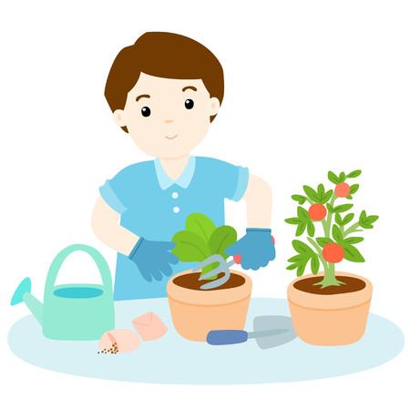 mattock: man planting  healthy organic vegetable cartoon illustration Illustration