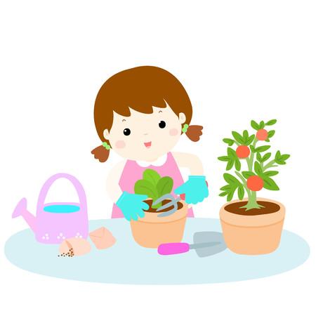 planting: girl planting  healthy organic vegetable cartoon illustration Illustration
