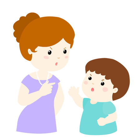 bad boy: boy and mom arguing on white background cartoon illustration