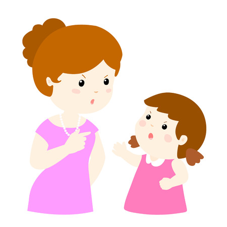 shouting: girl and mom arguing on white background cartoon illustration