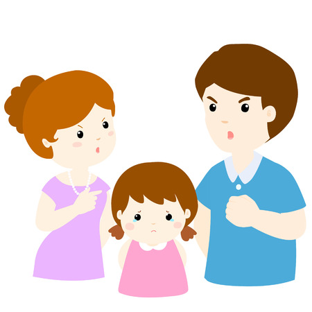 shouting: girl sad from parent fighting problem on white background cartoon illustration