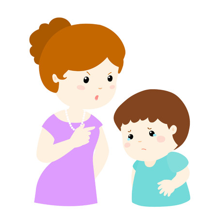 boy lady: Mom scolds her son on white background cartoon illustration