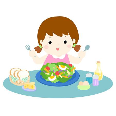 girl love eating fresh vegetable cartoon illustration